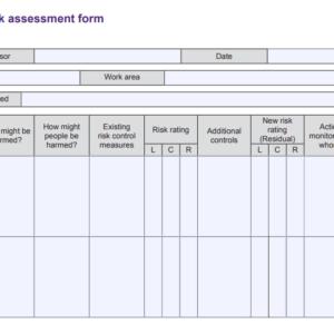 IOSH risk assessment form