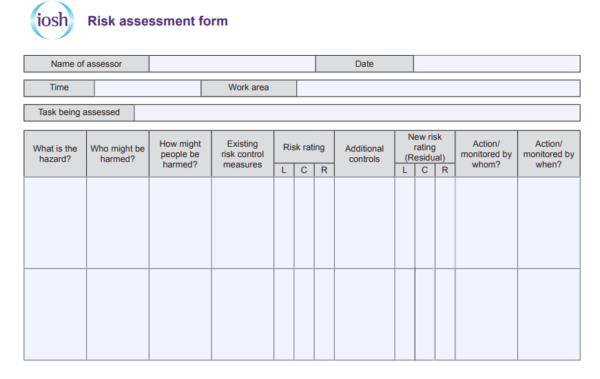 IOSH risk assessment form